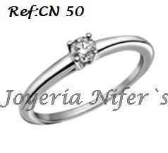 anillos de compromiso con diamante en plata ley 950