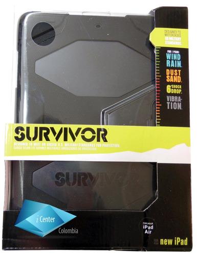 estuche carcasa 3 capas survivor ipad air 1 negro + base